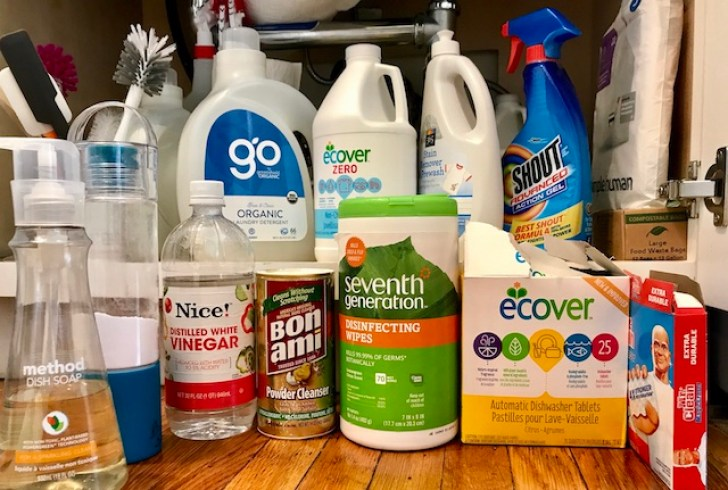 Cleaners. Plus bottle brushes, spatulas, paper towels snd trash bags.