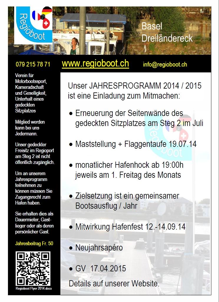 Flyer A4 Programm 2014/15, Beitrag, Zutrittsberechtigung, Kontakt