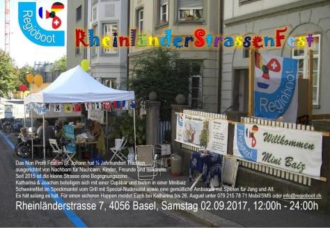 Einladung Rheinländer Strassenfest 2017 Basel