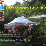 A4 Einladung mit Hintergrundbild: Garten mit Partyzelt und Sonnenschirm