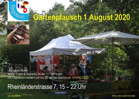 A4 Flyer mit Hintergrundbild: Regioboot Einladung Gartenplausch 1. August 2020