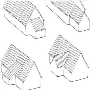 Prinzip-Skizze: Dachanbauten