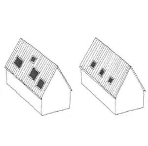 Prinzip-Skizze: Dachfenster und ihre Anordung