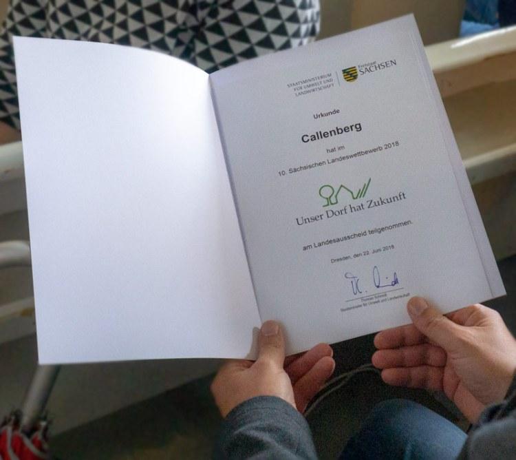 Urkunde: Unser Dorf hat Zukunft, 2018