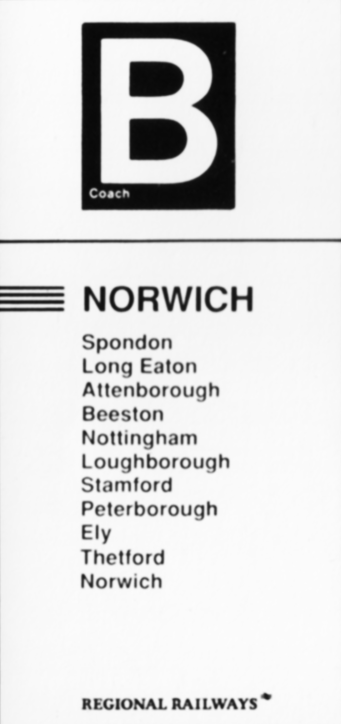 Destination label - Norwich