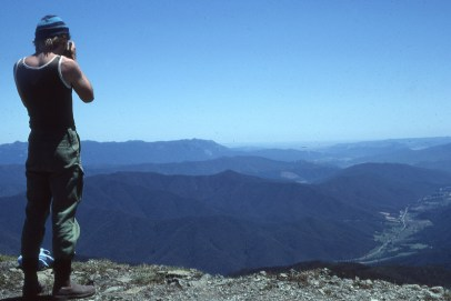 Mt Buffalo, top left, and the Ovens Valley, taken from Mt Feathertop
