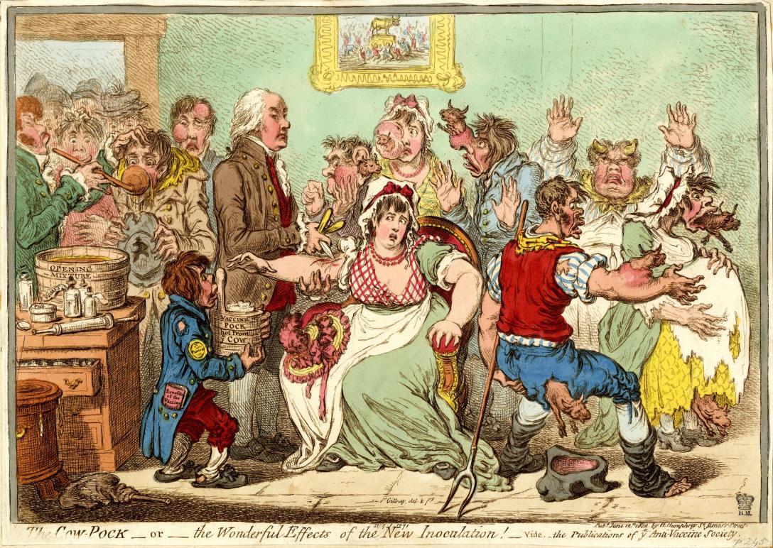 satirical scene poor patients receive the cowpox vaccine and develop bovine features