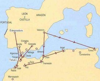 Diáspora morisca. Nótese como los expulsados de Extremadura (entre los que se encontraban hornacheros y demás betures) se asientan en Rabat y Salé principalmente