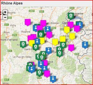 Carte Touristique de la Région Rhône Alpes