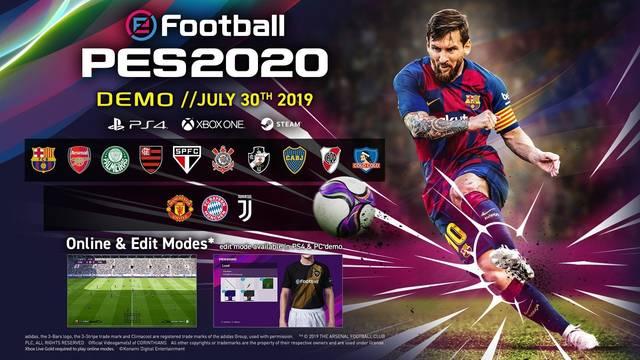Revelado el listado completo de equipos que estarán disponibles en la demo de eFootball PES 2020