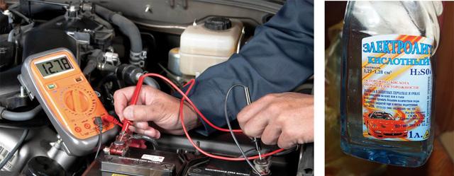 Үйде аккумулятордағы электролиттің тығыздығын арттыру және тексеру