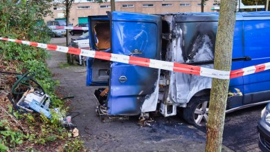 Photo of Bedrijfsbus in brand op de Schalmeistraat