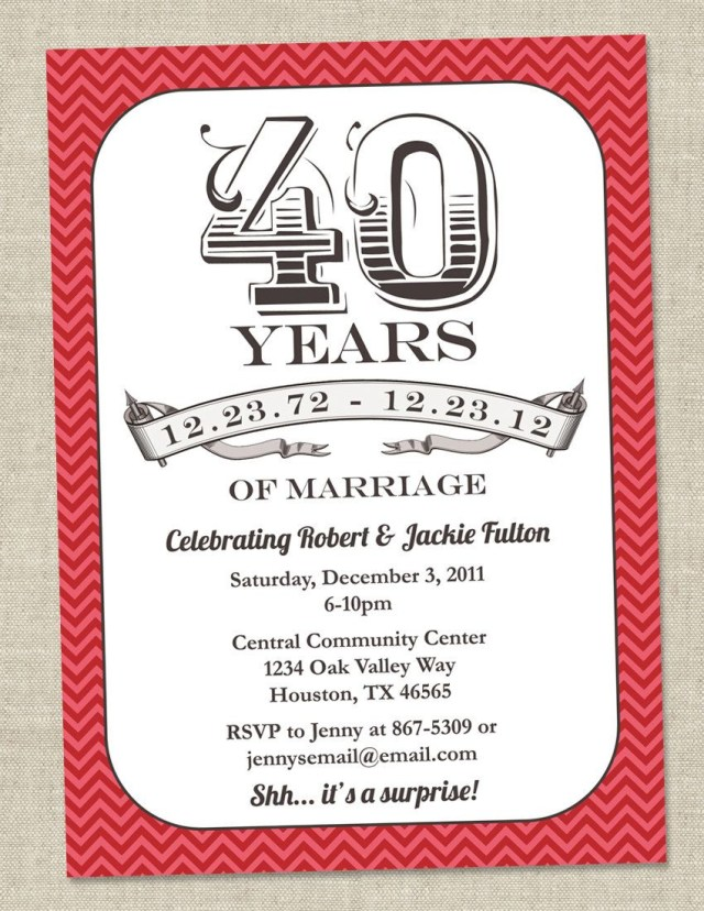 40Th Wedding Anniversary Invitations 40th Anniversary Invitation Ru Red Vintage Anniversary Party