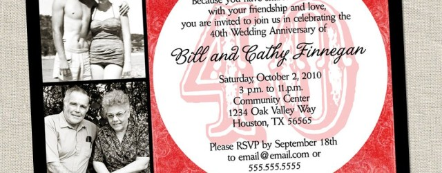 40Th Wedding Anniversary Invitations 40th Anniversary Invitation Ru Red Wedding Anniversary Etsy
