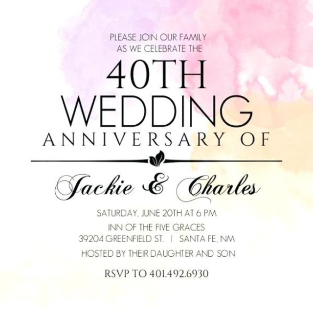 40Th Wedding Anniversary Invitations New 40th Wedding Anniversary Invitations And Anniversary Invitations