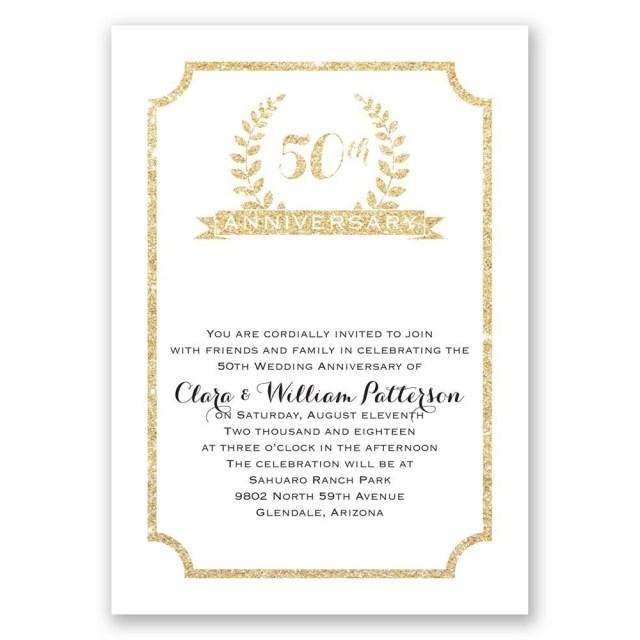 50Th Wedding Anniversary Invitations 50th Crest Faux Glitter Anniversary Invitation Invitations Dawn
