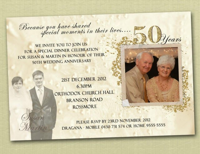 50Th Wedding Anniversary Invitations Golden Letters On White Or Cream 50th Wedding Anniversary