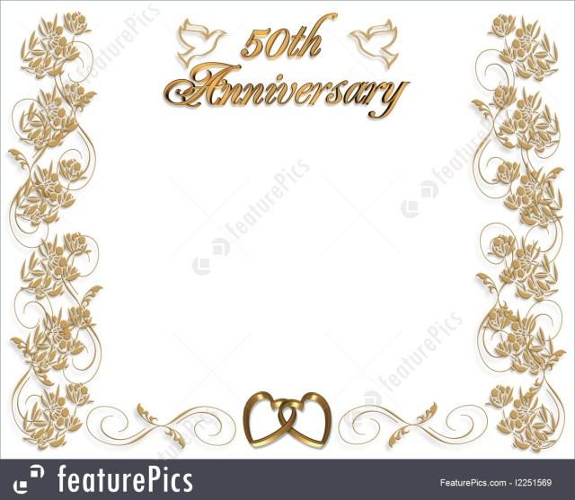 50Th Wedding Anniversary Invitations Templates Wedding Anniversary Invitation 50 Years Stock