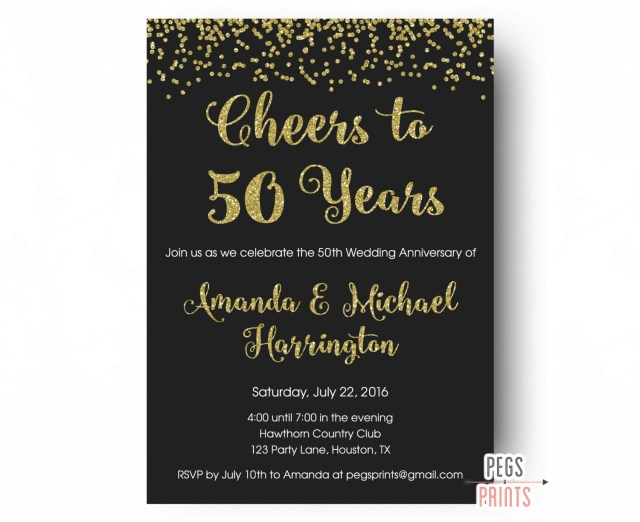50Th Wedding Invitations Cheers To 50 Years Invitation 50th Anniversary Invitation Etsy