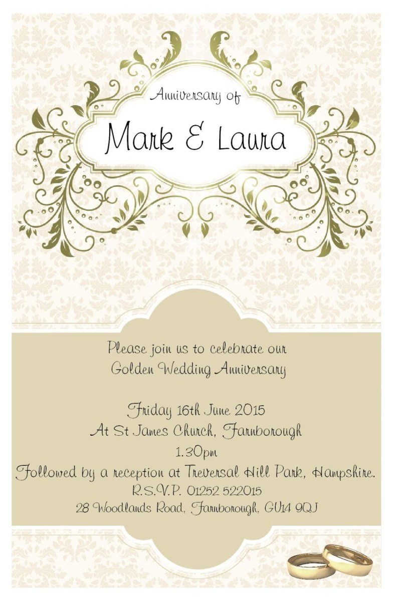 50Th Wedding Invitations Vintage 50th Anniversary Invitations With Gold Nuance And Couple