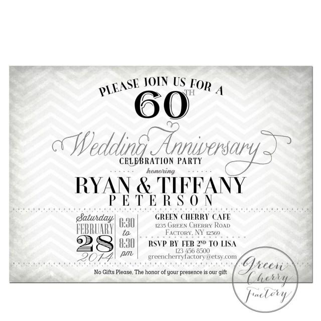 60Th Wedding Anniversary Invitations 60th Wedding Anniversary Invitation Black Greencherryfactory