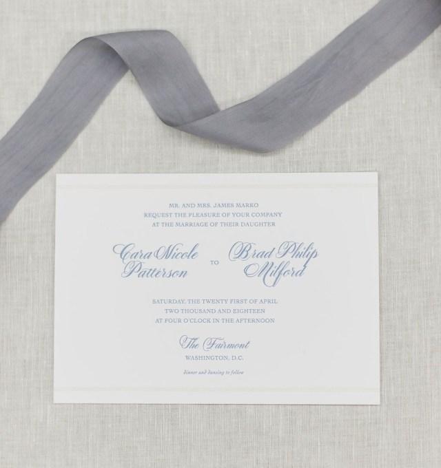 Affordable Letterpress Wedding Invitations Dusty Blue Classic Wedding Invitation Third Clover Paper