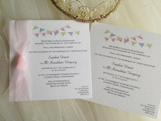 Affordable Wedding Invites Shab Chic Summer Bunting Square Flat Wedding Invitations