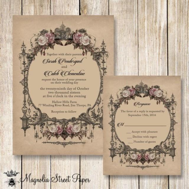 Antique Wedding Invitations Goth Wedding Invitation Halloween Wedding Invitations Printable