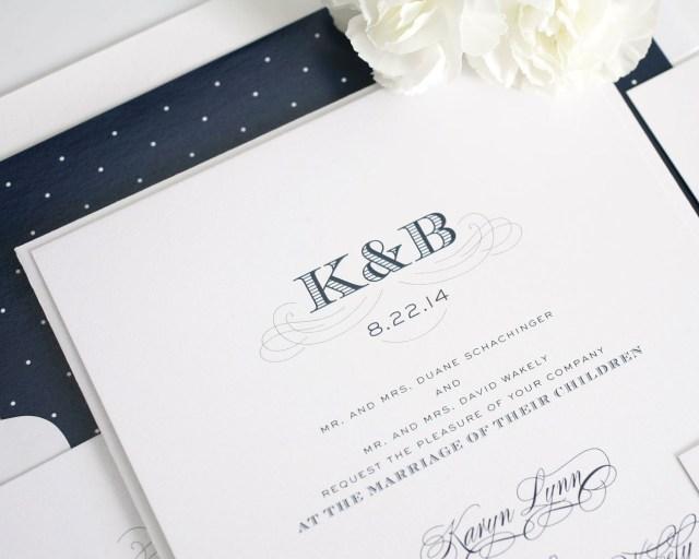 Antique Wedding Invitations Monogram Wedding Invitations With Polka Dots Wedding Invitations