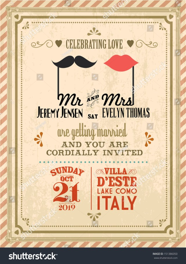 Antique Wedding Invitations Vintage Wedding Invitation Card Template Vectorillustration Stock