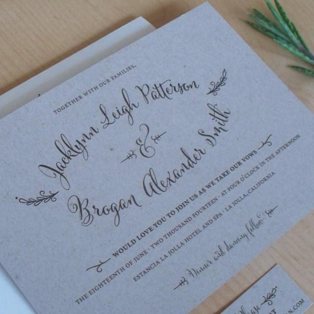 Backyard Wedding Invitation Wording Samples Kraft Paper Wedding Invitation Rustic Invitation Outdoor Wedding