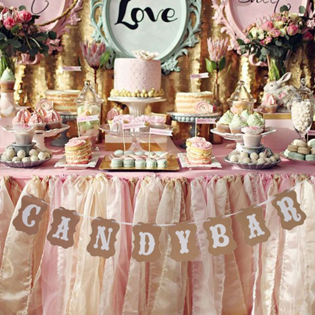 Bar Wedding Decor 1 Set Candy Bar Kraft Paper Cardboard Bunting Banner Garland Wedding