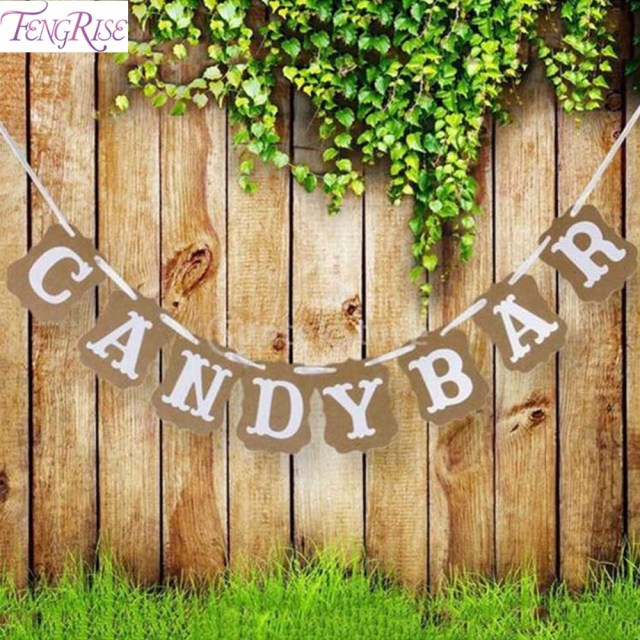 Bar Wedding Decor Fengrise Candy Bar Kraft Paper Cardboard Bunting Banner Garland