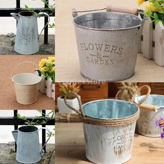 Barrell Wedding Decor Metal Tin Flower Planter Plant Pot Bucket Barrel Basket Pots Vase