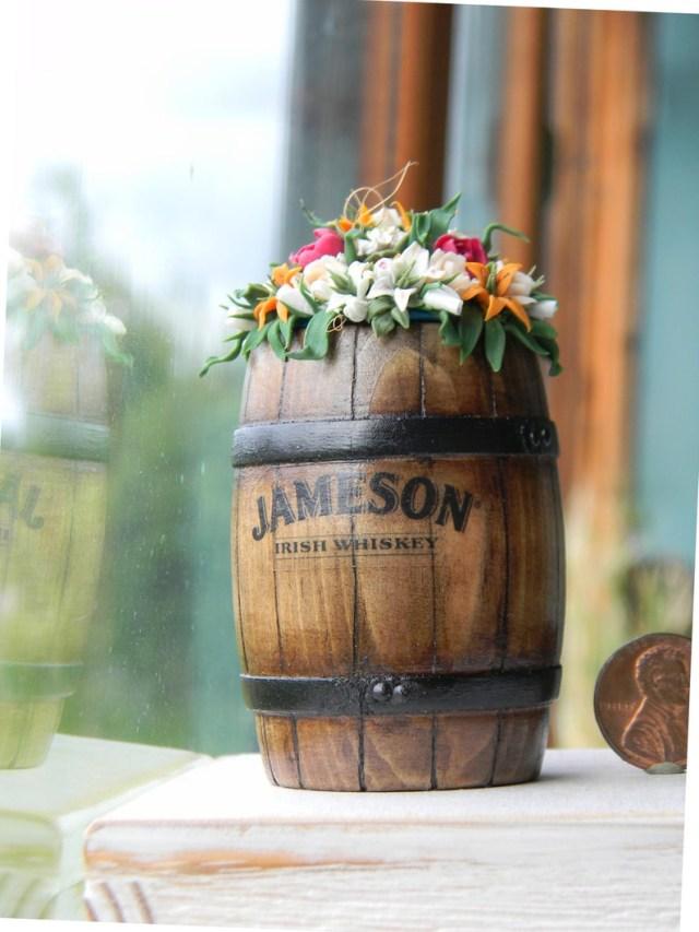 Barrell Wedding Decor Miniature Barrel With Flowers Dollhouse Wedding Decor Etsy