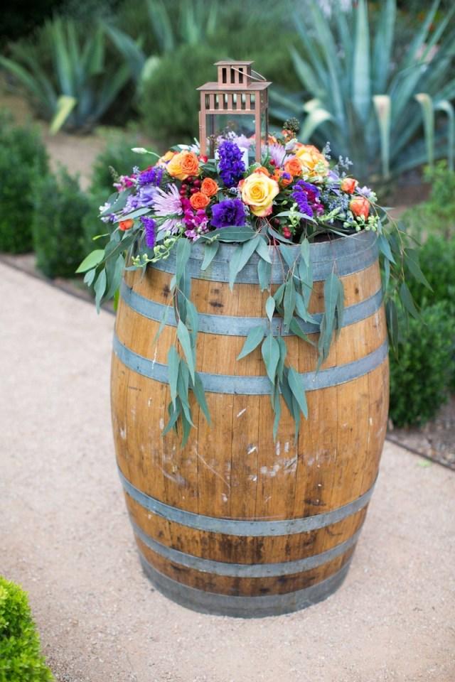 Barrell Wedding Decor Reception Dcor Photos A Colorful Floral Arrangement Atop A Wine