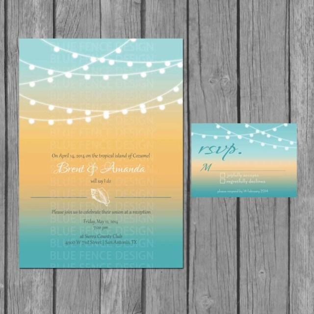 Beach Wedding Invites Beach Wedding Invitation Modern Strings Of Lights Seashells