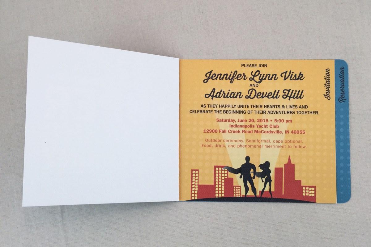 Book Themed Wedding Invitations Superhero Comic Book Themed Wedding Invitation 3pg Booklet Navy