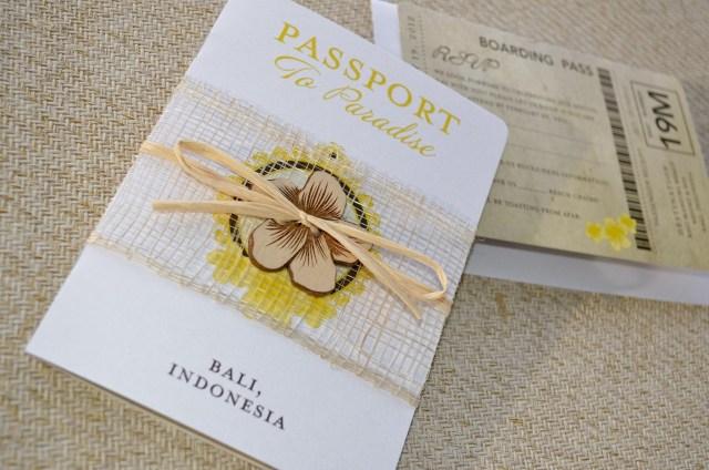 Book Wedding Invitations Indonesian Hibiscus Flower Passport Wedding Invitation Bali