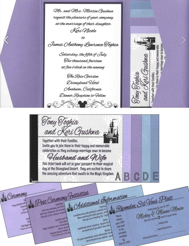 Book Wedding Invitations Keri Tonys Disneyland Ticket Book Wedding Invitations