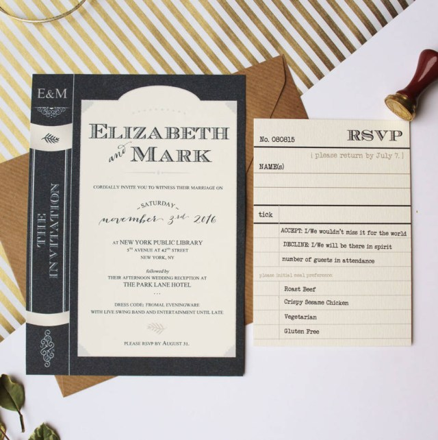 Book Wedding Invitations Library Book Wedding Invitation Suite Vanilla Retro Stationery