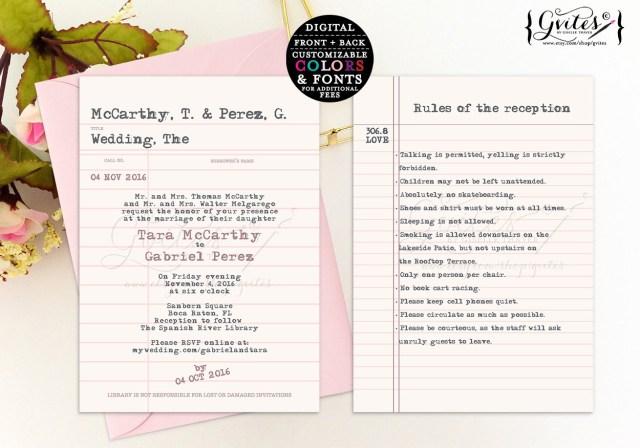 Book Wedding Invitations Library Card Wedding Invitation Library Wedding Invitations Book