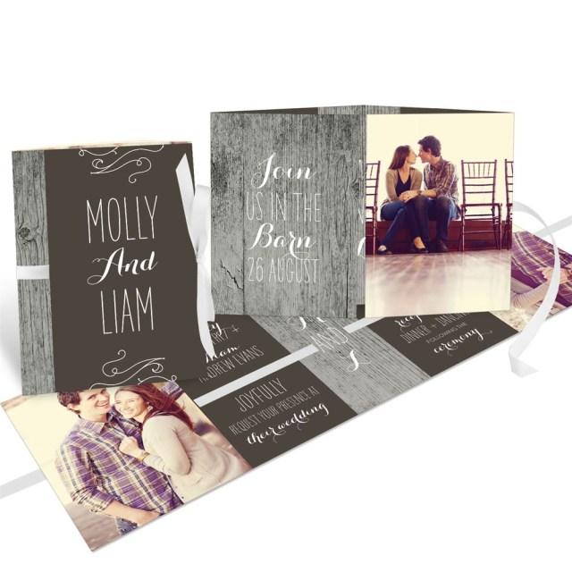 Book Wedding Invitations Rustic Wedding Ribbon Booklet Wedding Invitations Pear Tree