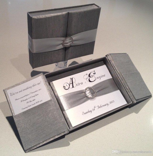 Box Wedding Invitations Royal Silver Silk Box Wedding Invitation Gate Fold Satin Box With