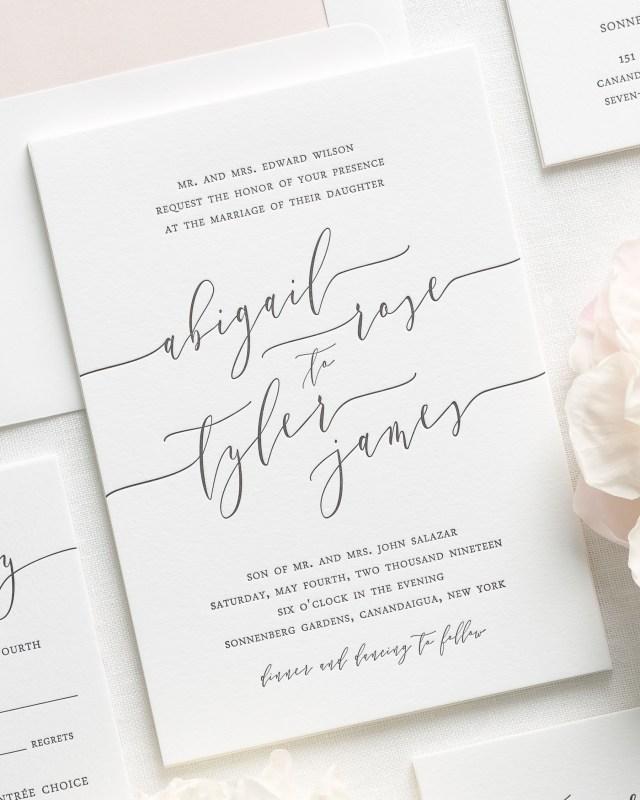 Calligraphy Wedding Invitations Romantic Calligraphy Letterpress Wedding Invitations Letterpress
