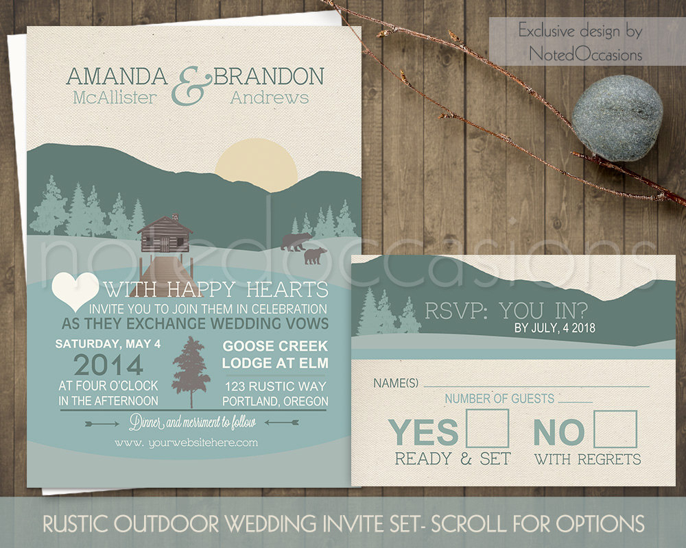 Camping Wedding Invitations Mountain Wedding Invitations Marina Gallery Fine Art
