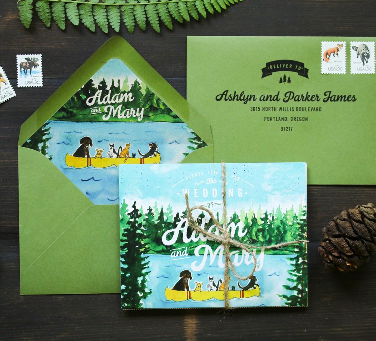 Camping Wedding Invitations Quirky Camping Inspired Watercolor Wedding Invitations