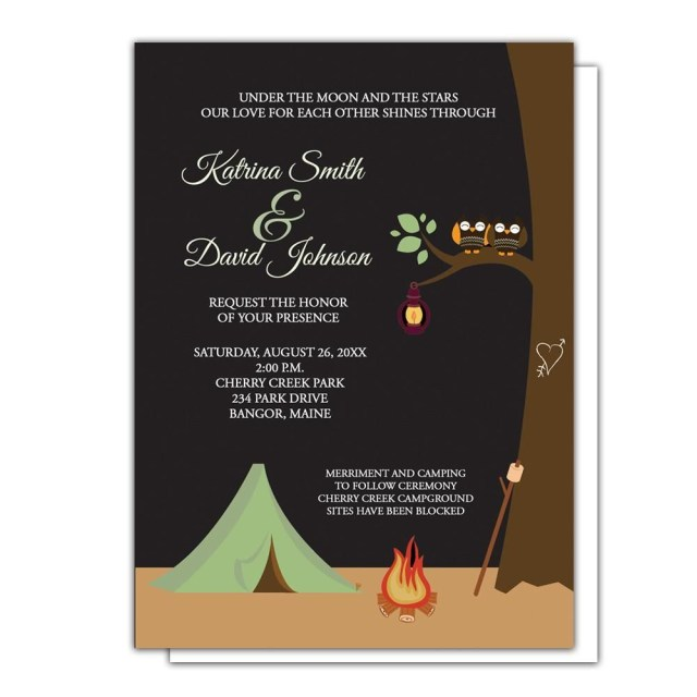 Camping Wedding Invitations Whimsical Owl Couple Tent Camping Wedding Invitations Finley