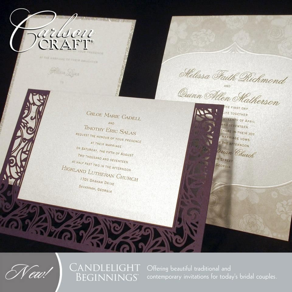 Carlson Wedding Invitations The New Candlelight Beginnings Album From Carlson Craft Offers