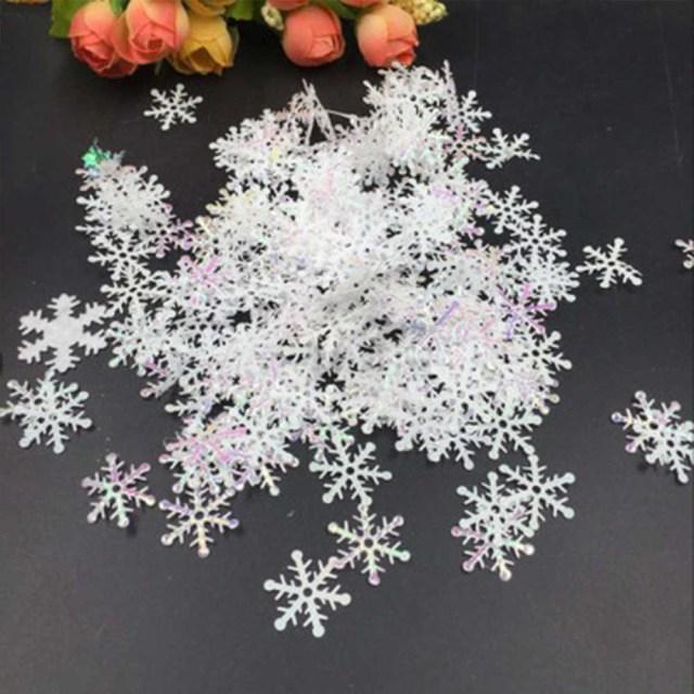 Christmas Wedding Decor 300pcslot Frozen Party Supplies White Fake Snowflake Christmas Wedding Decoration Diy Scene New Year Xmas Tree Window Decor
